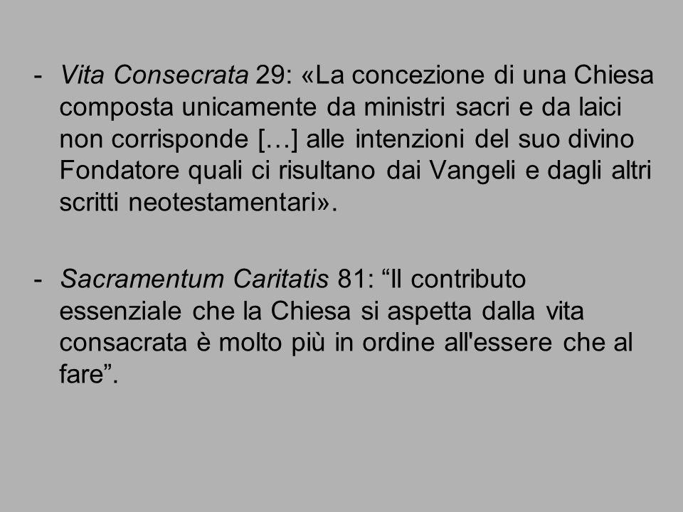 Vita Consecrata 29: «La concezione di una Chiesa composta unicamente da ministri sacri e da laici non corrisponde […] alle intenzioni del suo divino Fondatore quali ci risultano dai Vangeli e dagli altri scritti neotestamentari».